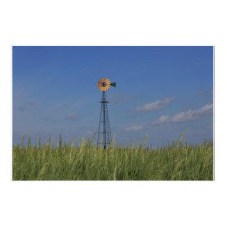 Kansas Country Windmill with a wheat field Art Photo