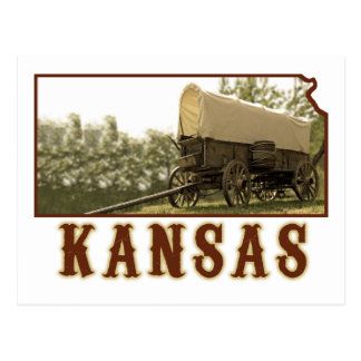 Kansas Covered Wagon Postcard