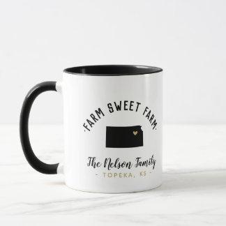 Kansas Farm Sweet Farm Family Monogram Mug