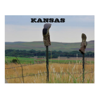 Kansas Farmers Boots on a Fence Post Card