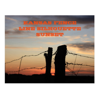 Kansas Fence Line Silhouette Sunset Postcard
