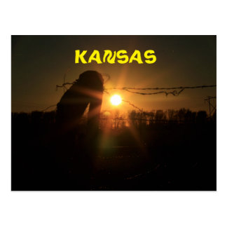 Kansas Fence Line Sunset Post Card