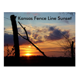 Kansas Fence Line Sunset Post Card