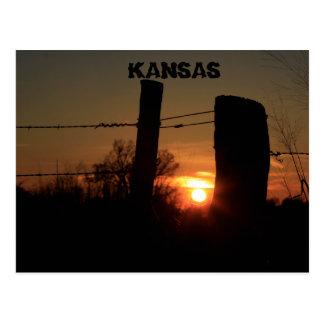Kansas Fence Line Sunset Silhouette Post Card