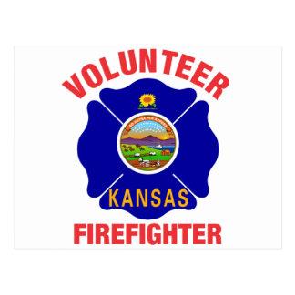 Kansas Flag Volunteer Firefighter Cross Postcards