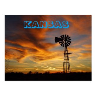 Kansas Golden Sky with Windmill  POST CARD