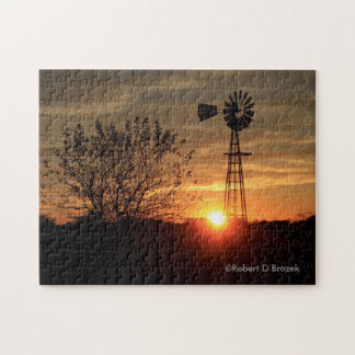 Kansas Golden Sky with Windmill Silhouette Puzzle