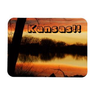 Kansas Golden Sunset Reflection Magnet!! Rectangular Photo Magnet