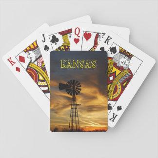 Kansas Golden Windmill Silhouette  Playing Cards