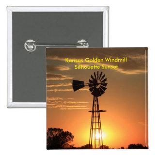 Kansas Golden Windmill Silhouette Sunset PIN
