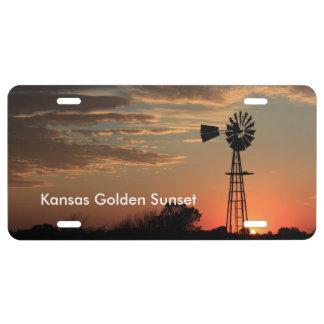 Kansas Golden Windmill Sunset CAR TAG
