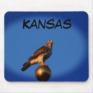 Kansas Hawk on a Flag Pole Mouse Pad