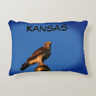 Kansas Hawk on a Flag Pole Pillow. Decorative Cushion