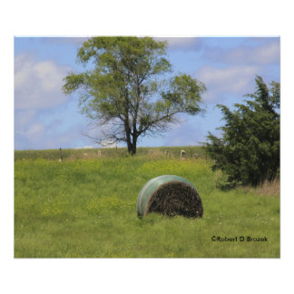 Kansas Hay Bale with Grass Photo Enlargement