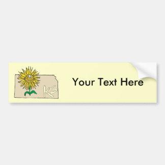 Kansas KS Map with Smiling Sunflower Cartoon Bumper Sticker