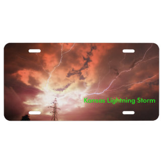 Kansas Lightning Storm CAR TAG License Plate