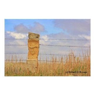 Kansas Limestone Fence Art Photo