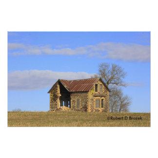 Kansas Limestone House with Sky Photo Enlargement