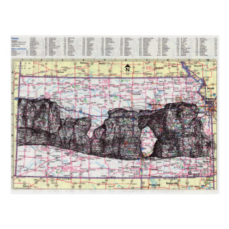 Kansas Map Art Postcard