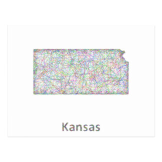 Kansas map postcard