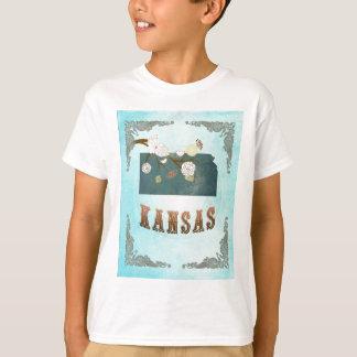 Kansas Map With Lovely Birds T-Shirt