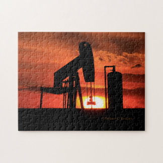 Kansas Oil Well Pump Sunset/Silhouette Puzzle