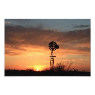 Kansas Orange Sky with Windmill Photo Enlargement