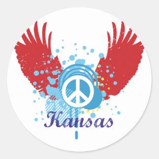 Kansas Peace Sign Round Sticker