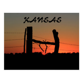 Kansas Silhouette Fence Line Post Card
