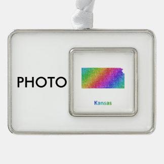 Kansas Silver Plated Framed Ornament