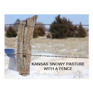 Kansas Snowy pasture with a Fence POST CARD
