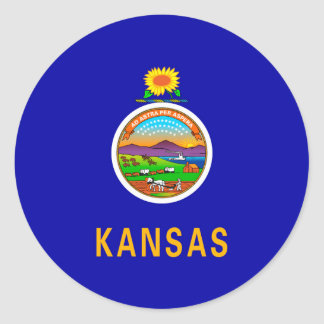 Kansas State Flag Design Round Sticker