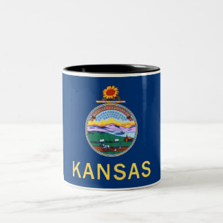 Kansas State Flag Two-Tone Coffee Mug