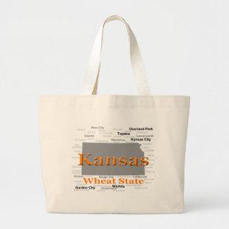 Kansas State Pride Map Tote Bags