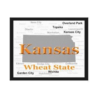 Kansas State Pride Map Canvas Print