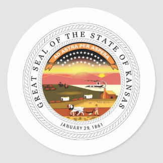 Kansas State Seal and Motto Round Sticker