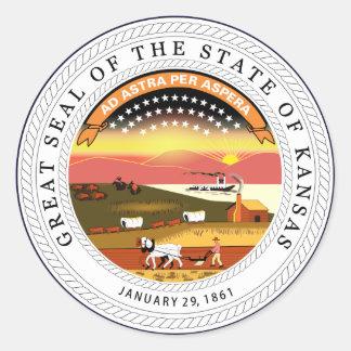 Kansas State Seal Round Sticker