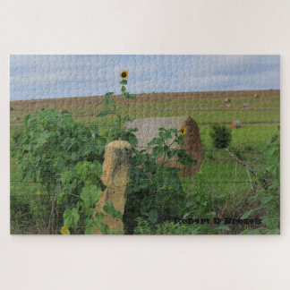 Kansas Stone Post with Sunflower's Puzzle!!!! Jigsaw Puzzle