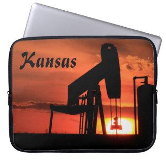 Kansas Sunset   Oil Well Pump Laptop Sleeve