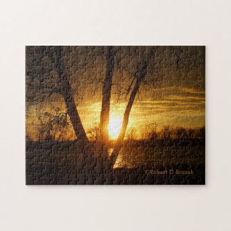 Kansas Sunset Reflection PUZZLE