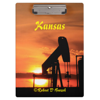 Kansas Sunset with oil Well Pump Clip Board Clipboards