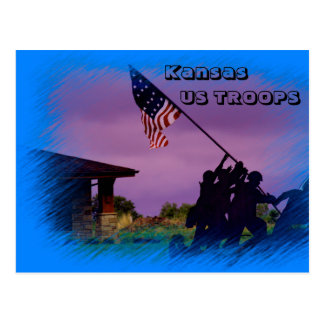 Kansas US Troops Post Card with a US Flag