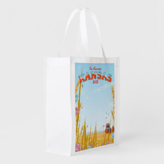 Kansas USA Farm retro Travel poster Reusable Grocery Bag
