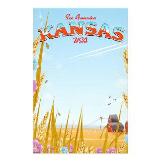 Kansas USA Farm retro Travel poster Stationery