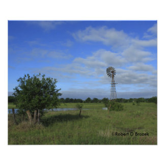 Kansas Windmill in a Pasture Photo Enlargement