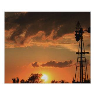 Kansas Windmill Silhouette Photo Enlargement