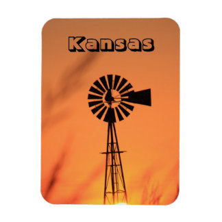Kansas Windmill with Blazing Sunset Magnet