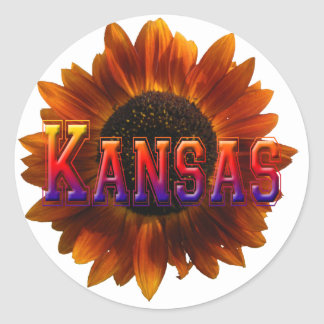 Kansas with Sunflower Round Sticker