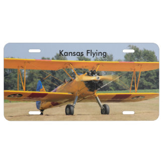Kansas Yellow Airplane CAR TAG
