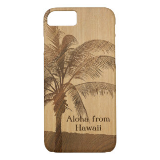 Kapaa Sunset Hawaiian Faux Koa Wood Single Palm iPhone 8/7 Case
